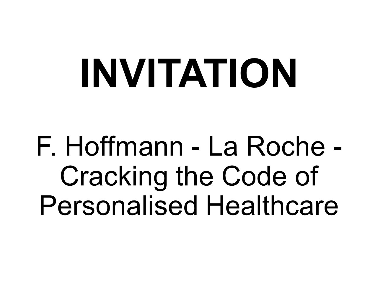 F. Hoffmann - La Roche: Cracking the Code